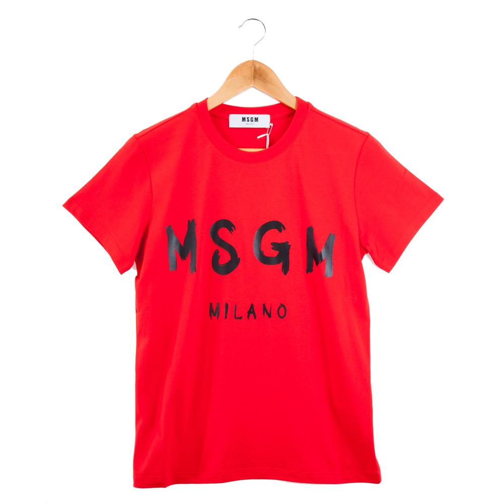 MSGM 經典油漆塗鴉黑色英文字母LOGOT恤 (紅色)