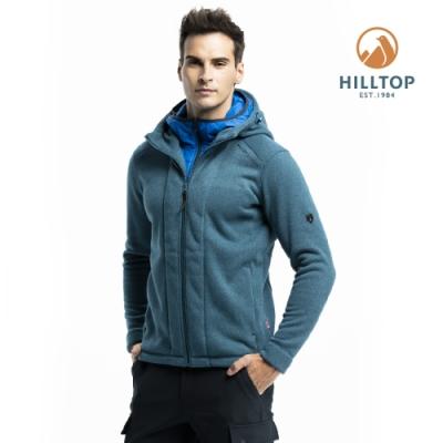 【hilltop山頂鳥】男款ZISOFIT保暖吸濕快乾連帽刷毛外套H22MX8壁毯綠