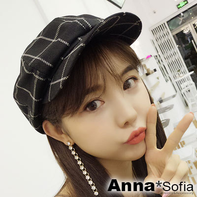 AnnaSofia 虛線點格紋 混棉報童帽貝蕾帽(黑系)