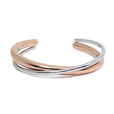Calvin Klein CK Double簡約交織雙環銀x玫瑰金粗手環