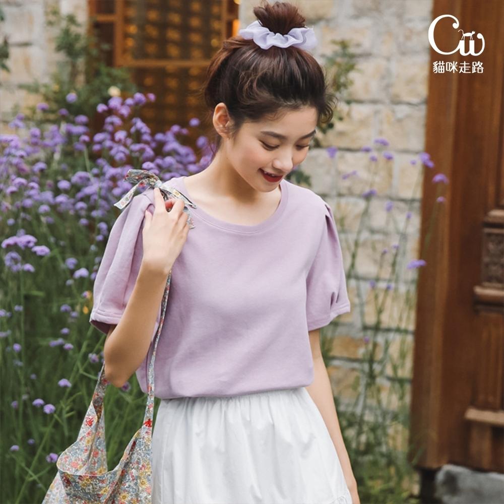 [CW.貓咪走路]法式簡約設計泡泡袖短袖T恤(KDT-10972)