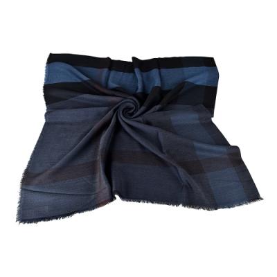 BURBERRY格紋造型輕盈羊毛蠶絲圍巾(海軍藍)