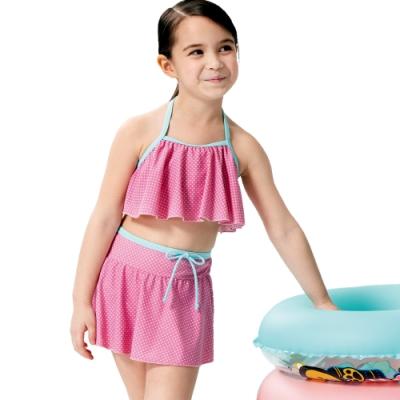 沙兒斯 兒童泳裝 粉色點點可愛圍兜兩件式女童泳裝