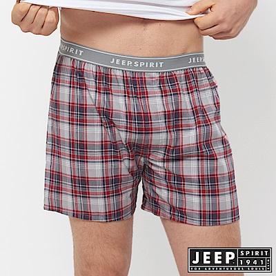 JEEP 五片式剪裁 純棉平口褲-紅灰格紋