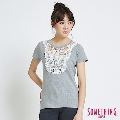 SOMETHING 花邊蕾絲圓領短袖T恤-女-灰色