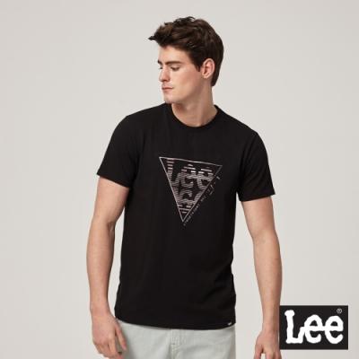 Lee短袖T恤 倒三角線條logo 黑 男款