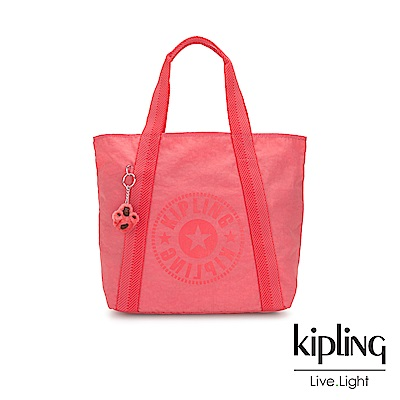 Kipling 珊瑚橘紅素面復古休閒LOGO托特包-HYE