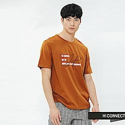 H:CONNECT 韓國品牌 男裝-個性標語圓領T-shirt-棕