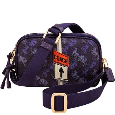 COACH 葡萄紫色馬車圖樣PVC雙層斜背包
