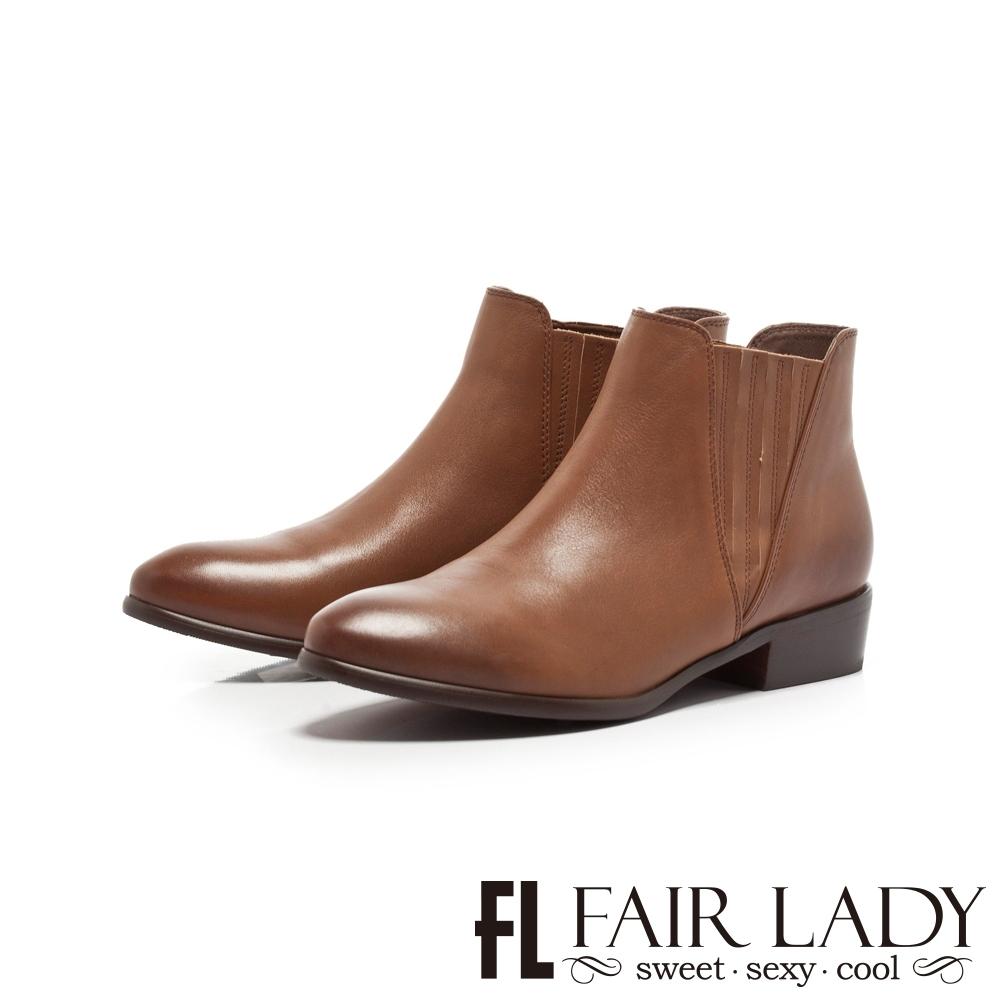 Fair Lady簡約率性皮革百搭短靴 咖