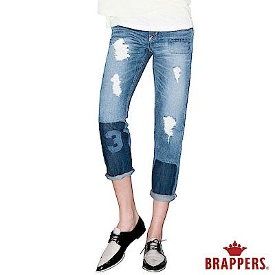 BRAPPERS 女款 BoyFriend系列-女用雷射補釘八分反折褲-淺藍