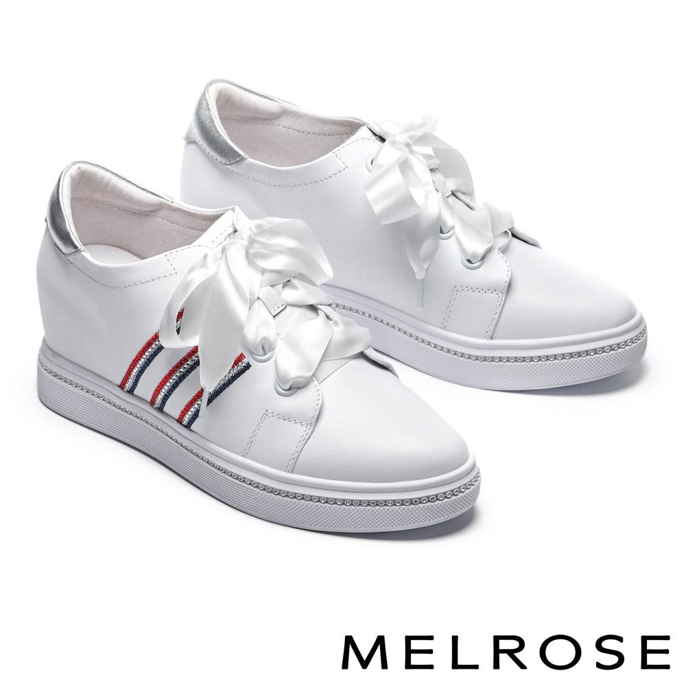 休閒鞋 MELROSE 時尚潮感電繡晶鑽緞布帶全真皮內增高休閒鞋-白