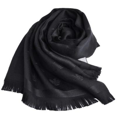 EMPORIO ARMANI 字母LOGO品牌圖騰雙面配色羊毛圍巾(黑/深灰LOGO)