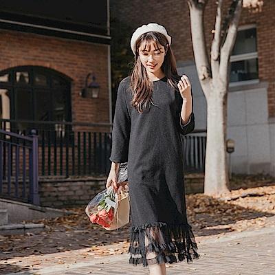 層次感網紗裙襬拼接純色毛呢長洋裝-OB大尺碼