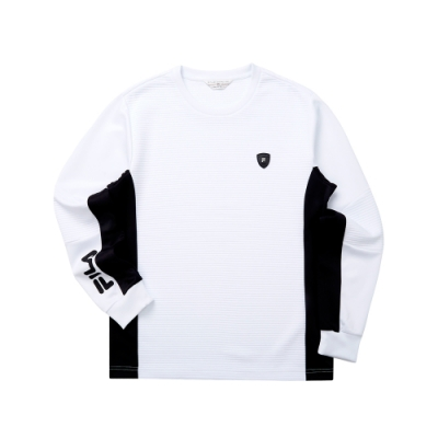 FILA 男長袖圓領T恤-白色 1TET-5470-WT