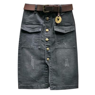 微刷破排扣牛仔裙 TATA-(S~L)