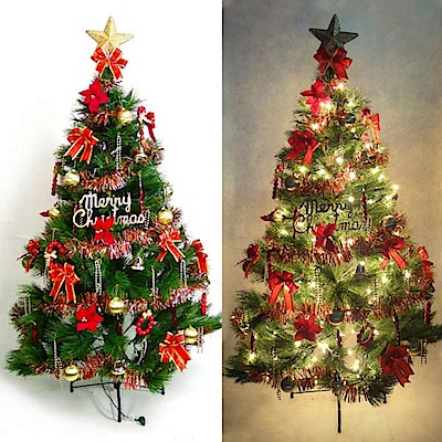 摩達客 4尺特級綠松針葉聖誕樹+紅金色系配件+100燈鎢絲樹燈清光一串