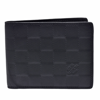 LV N63124經典SLENDER系列Damier Infini皮革摺疊短夾(黑)