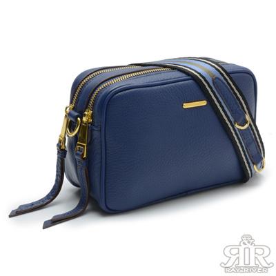 2R Stripe牛皮寬肩條紋斜背小方包 深寶藍