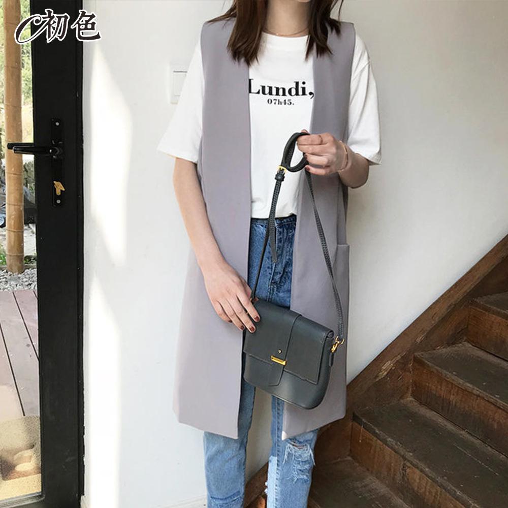 初色  韓版中長款西裝背心外套-共2色-(M-XL可選)