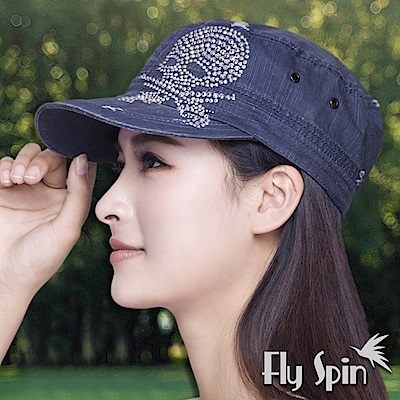 FLYSPIN 遮陽新潮骷髏頭燙鑽軍人帽