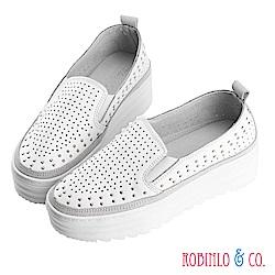 Robinlo & Co.百搭鉚釘沖孔牛皮厚底休閒鞋 白色