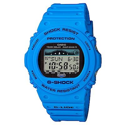 G-SHOCK極限運動復古設計潮汐衝浪者太陽能電波錶GWX-5700CS-2)藍45.4m