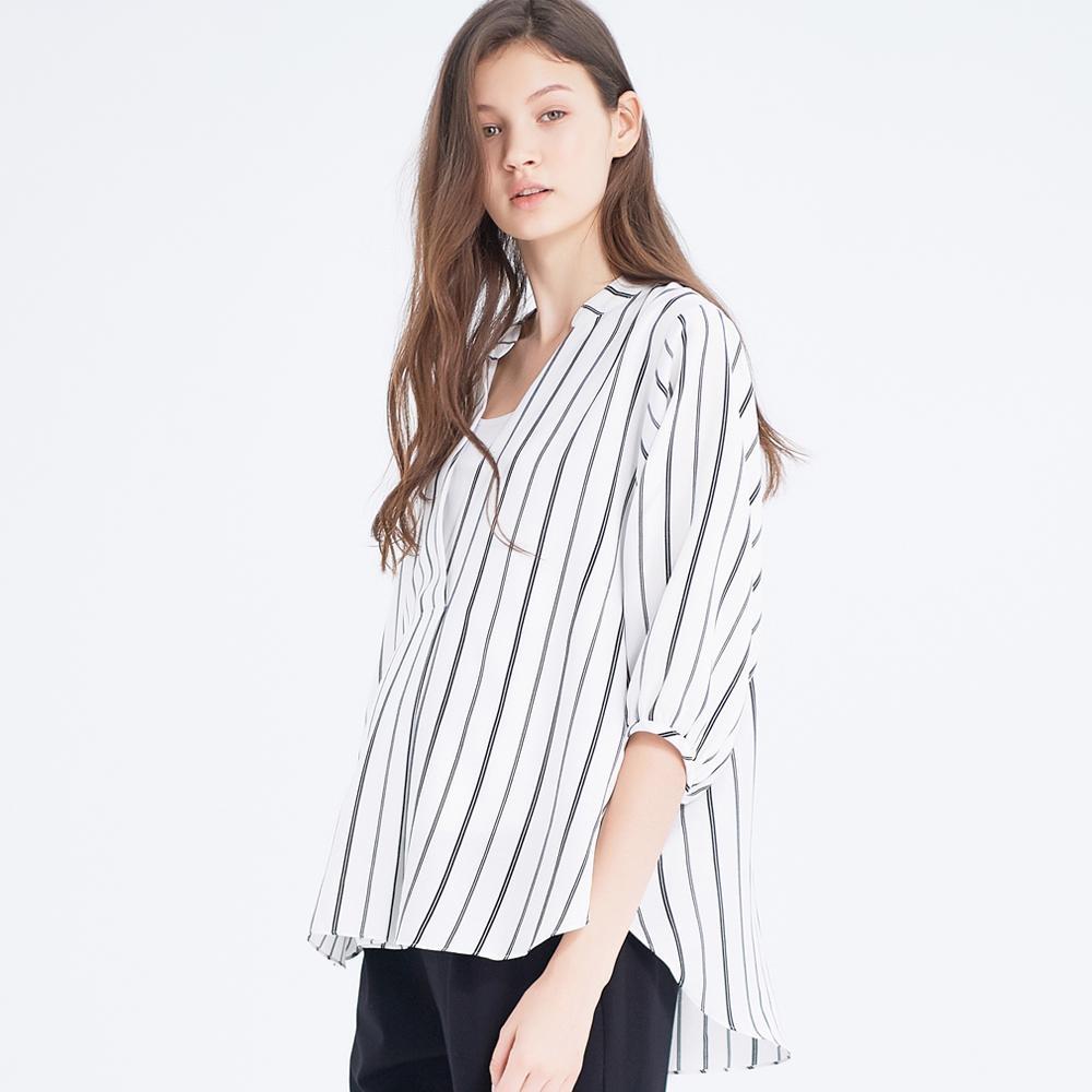 Gennies奇妮-立領七分袖哺乳孕婦上衣-白底黑條(T3H10)