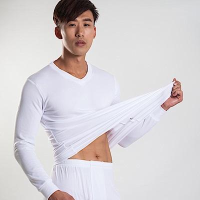 G+居家 男款束口刷毛暖暖衣-V領-白色