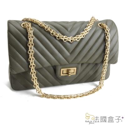 法國盒子 氣質女神V型紋時尚鍊帶包(綠色)
