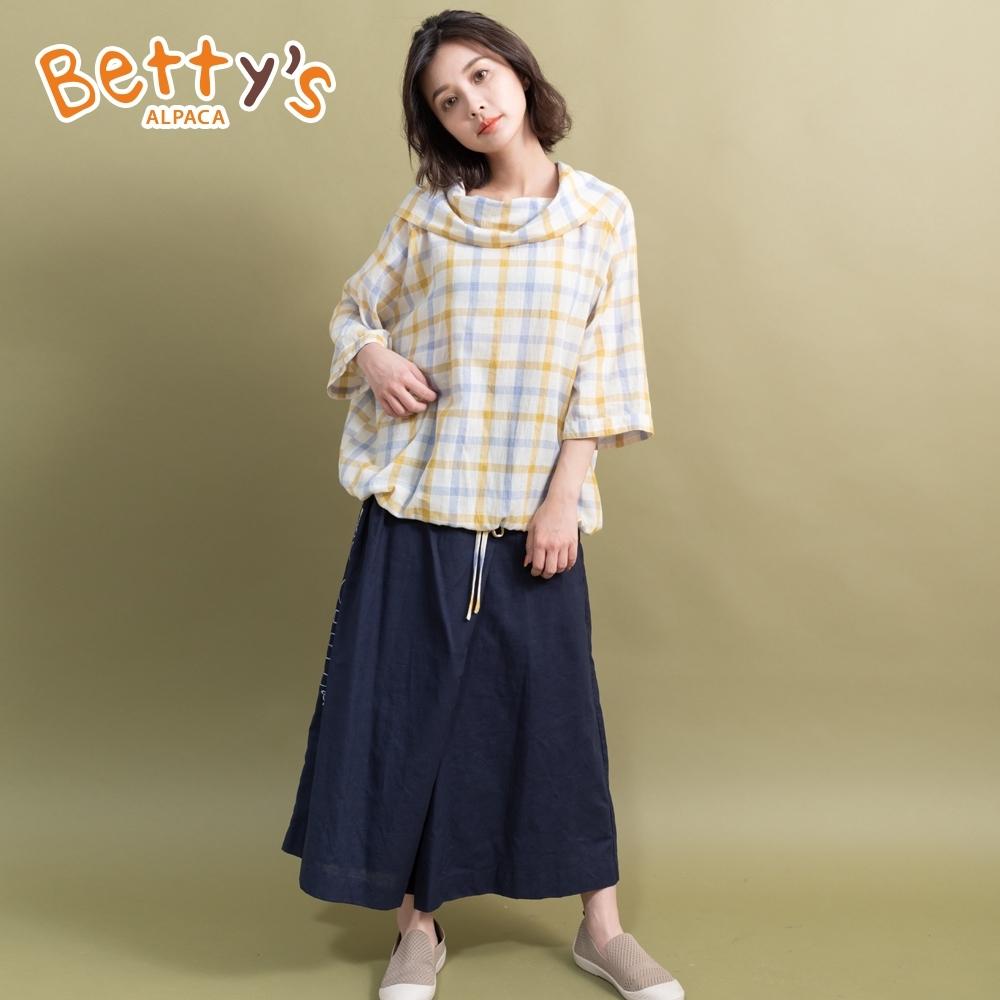 betty's貝蒂思 英文印花長版褲裙(深藍)