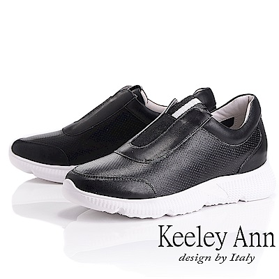 Keeley Ann 我的日常生活 全真皮簡約素面休閒鞋(黑色-Ann)