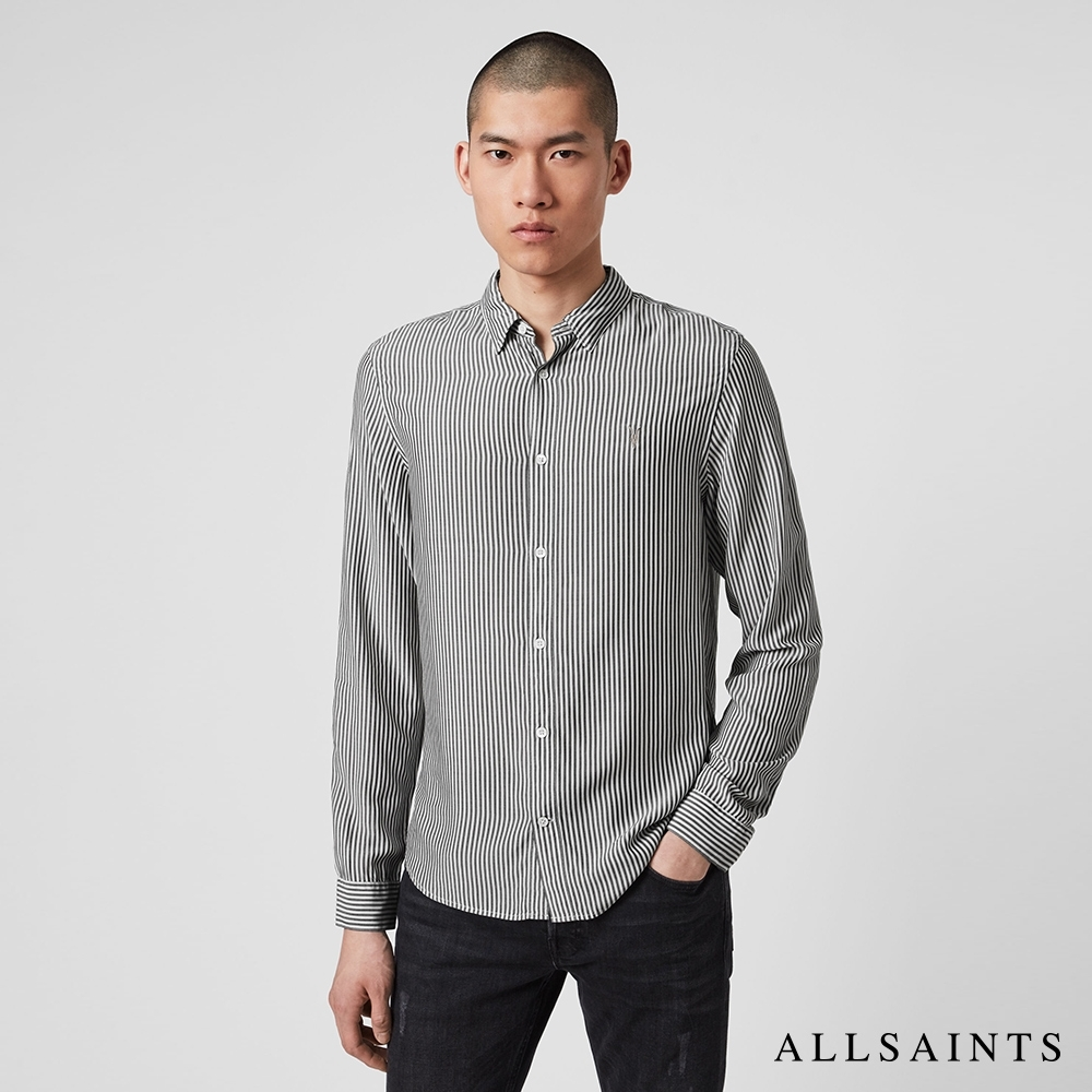ALLSAINTS STANTON 公羊頭骨刺繡條紋長袖襯衫-白黑條
