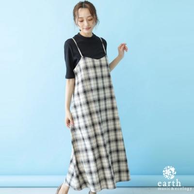 earth music 【SET ITEM】經典格紋吊帶洋裝+短袖圓領上衣