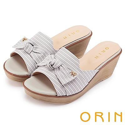 ORIN 愜意渡假風情 嚴選條紋布面楔型拖鞋-灰色
