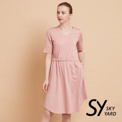 【SKY YARD 天空花園】素面抽褶五分袖連身洋裝-粉色