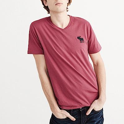 麋鹿 AF A&F 經典電繡大麋鹿V領短袖T恤-紅色