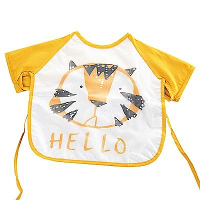 QBabe 塗鴉短袖防水畫畫吃飯寶寶罩衣-黃色老虎