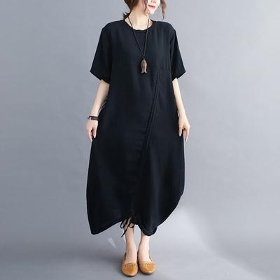 米蘭精品 連身裙短袖洋裝-條紋拼接不對稱設計女裙子73xz30
