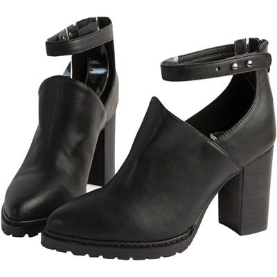 AIR SPACE 個性繫踝壓釦尖頭粗跟踝靴(黑)