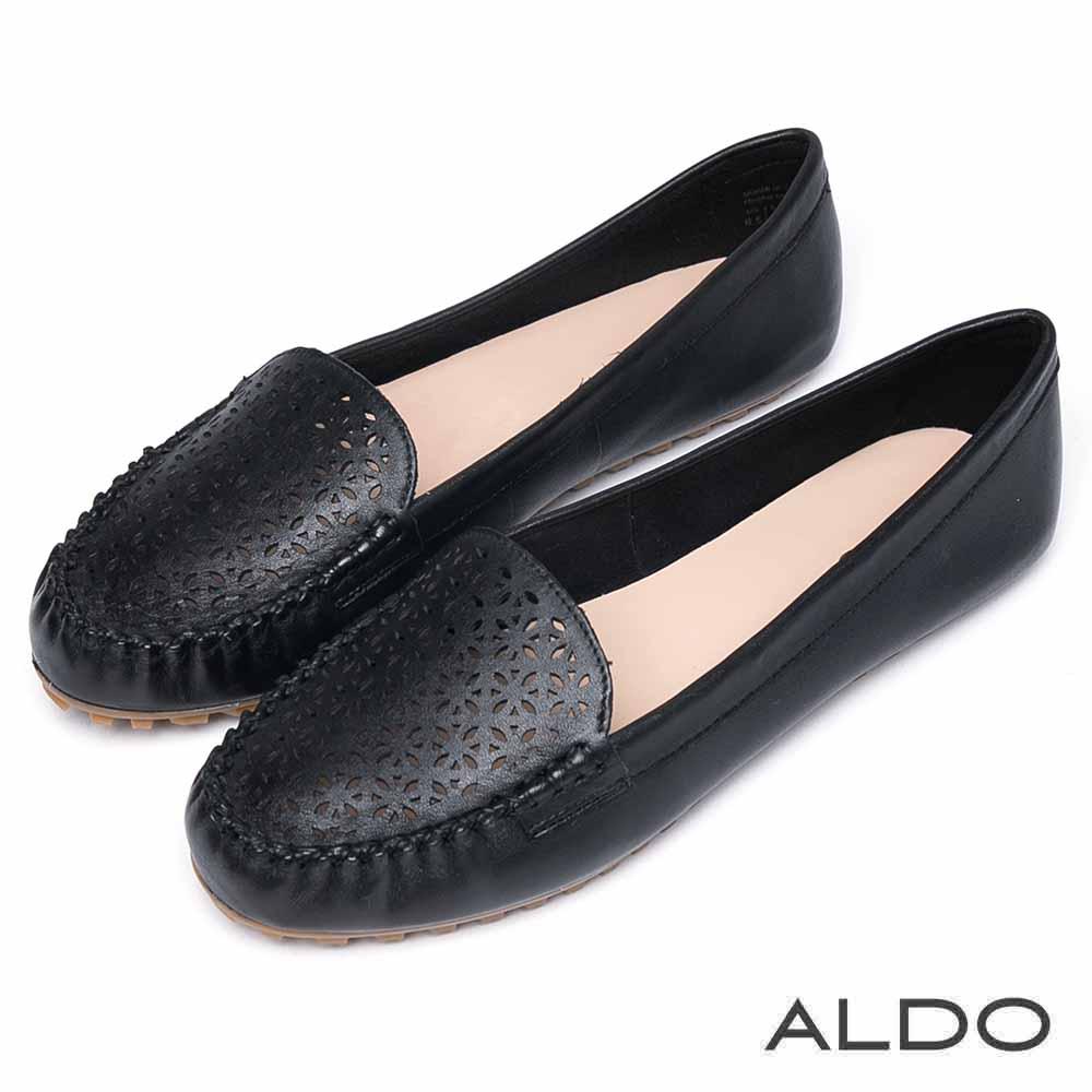 ALDO 原色真皮幾何鏤空雕花平底鞋~尊爵黑色