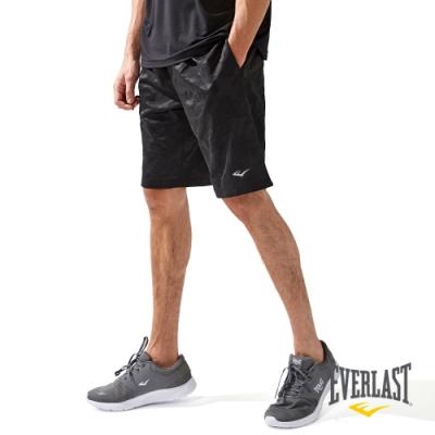 【EVERLAST】男款POLY迷彩五分褲-黑色