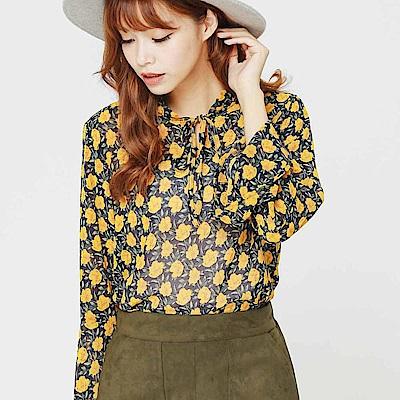 H:CONNECT 韓國品牌 女裝-繽紛印花雪紡上衣-綠