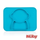 Nuby 矽膠分隔餐盤-太空人-藍