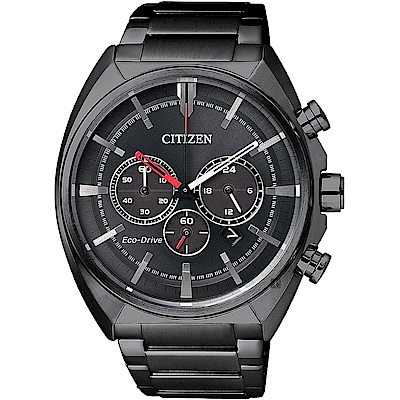 CITIZEN 星辰 Eco-Drive 光動能跨時代計時腕錶-黑/ 43mm