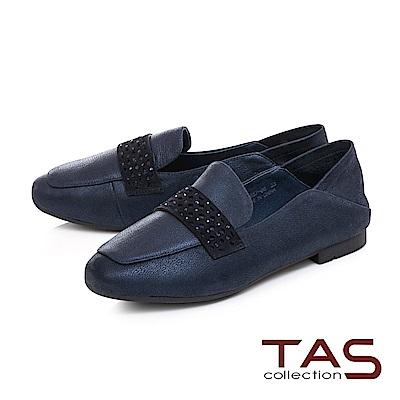 TAS 質感素面拼接踩腳樂福鞋-知性藍