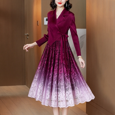 西裝領假兩件拼接漸層蕾絲裙壓摺洋裝-F(共五色)-糖潮