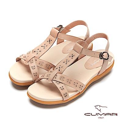 CUMAR普羅旺斯莊園- 雷射沖孔雕花腳床式涼鞋-杏