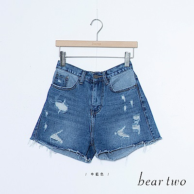 beartwo 美式刷破不收邊牛仔短褲(藍)