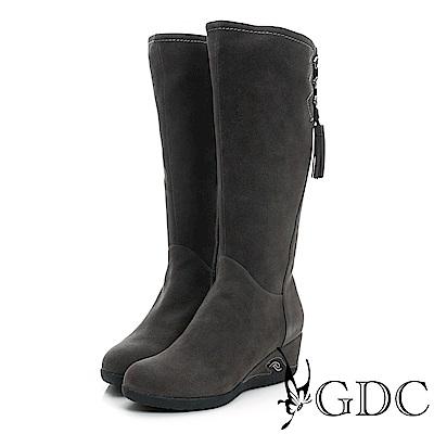 GDC-麂皮側流蘇楔型底真皮長靴-灰